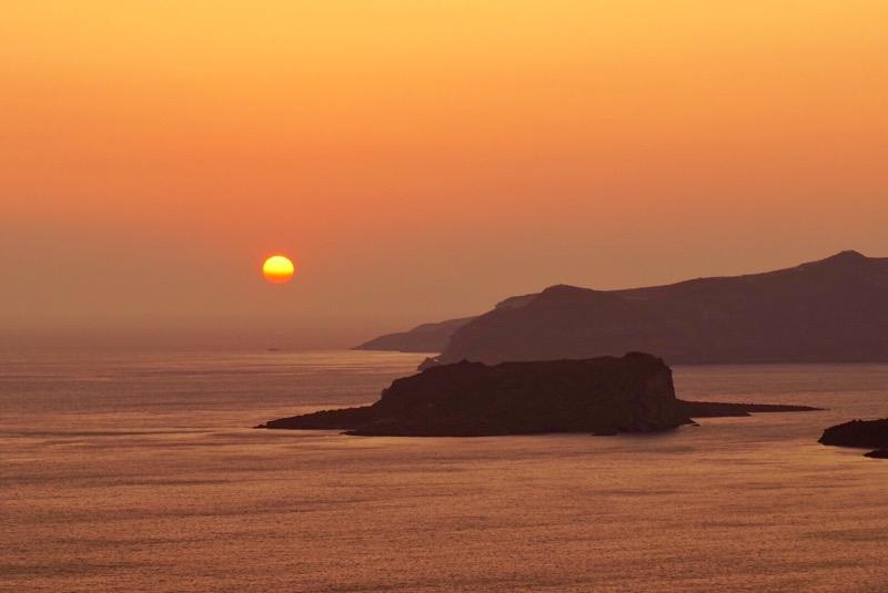 Santorinis solnedgång
