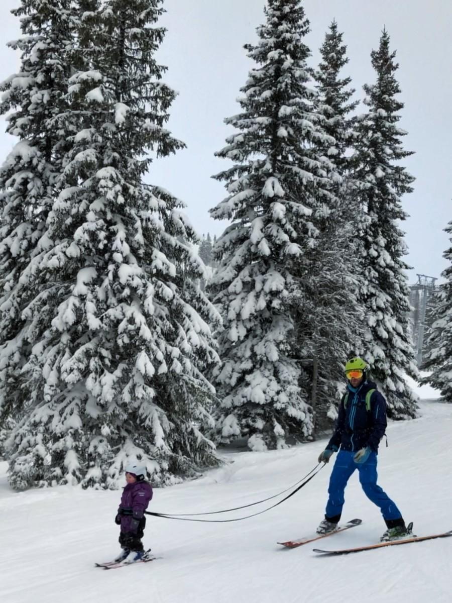 lära barn åka skidor sele