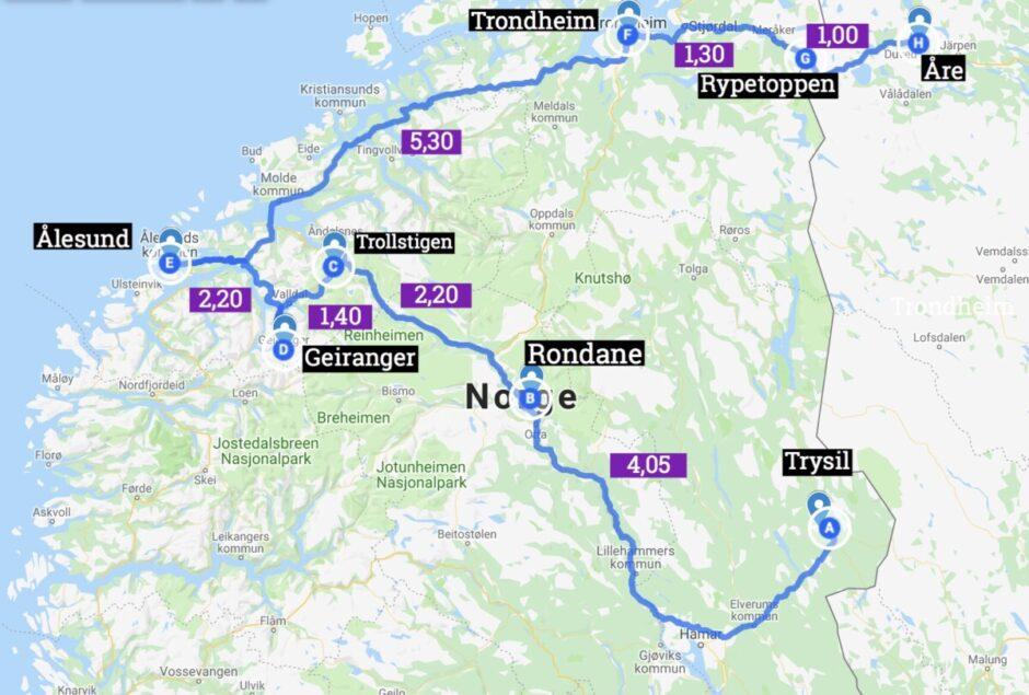 roadtrip i norge mellan-Norge rutt